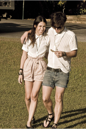 beige Zara shorts - white Esprit shirt
