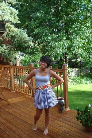 gray Forever 21 top - red Forever 21 belt - gray Forever 21 skirt