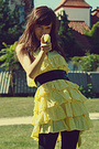 yellow Zara dress - black Zara panties - black vintage belt