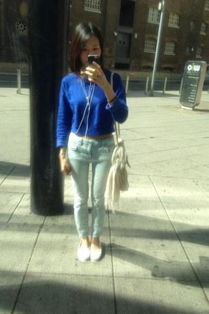 blue Topshop top - light blue Zara jeans