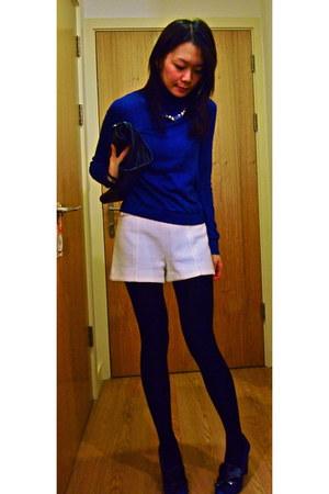 blue cotton rollneck Hobbs top - black Zara bag - white Zara shorts