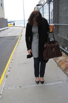 necessary clothing sweater - banana republic dress - Express jeans - Nine West s