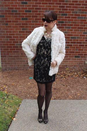 lace Forever 21 dress - faux fur Forever 21 coat - Payless heels