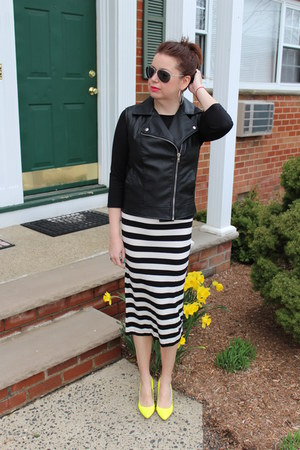 t-shirt H&M skirt - t-shirt H&M shirt - faux leather Forever 21 vest