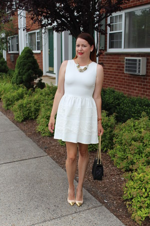 lia sophia necklace - Forever 21 shoes - barrIII dress - Express purse