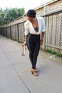 Ivory-vintage-blouse-black-american-apparel-pants