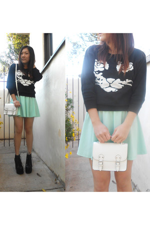 Udobuy sweater - mint skater rire boutique dress - white satchel H&M bag