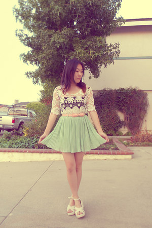crochet OASAP blouse - pleated pastel OASAP skirt - crochet Sammy dress wedges