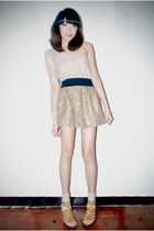 beige skirt - off white socks - off white top - camel heels