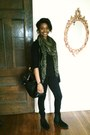 Green-zara-scarf-black-zara-bag-black-zara-cardigan-black-zara-pants