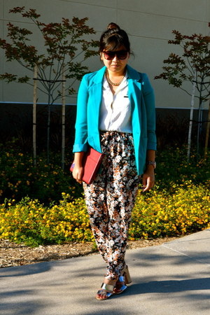 teal H&M blazer - white Love 21 shirt - tawny sam edelman sandals
