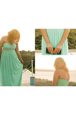 aquamarine Bless dress - navy Estee Lauder purse