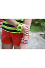 Red-just-chic-shorts-lime-green-neon-bangle-primadonna-bracelet