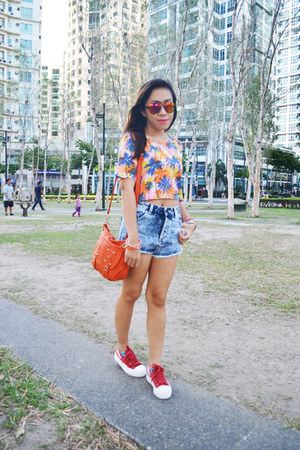 orange palm print crop The Sweet Cloth top - blue denim cut offs Topshop shorts