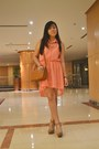 Peach-mullet-dress-bronze-satchel-queen-street-bag