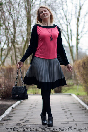 black Orsay sweater - hot pink Orsay blouse - heather gray H&M skirt