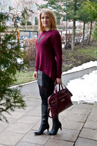magenta reserved sweater - black c&a dress - maroon Mohito bag