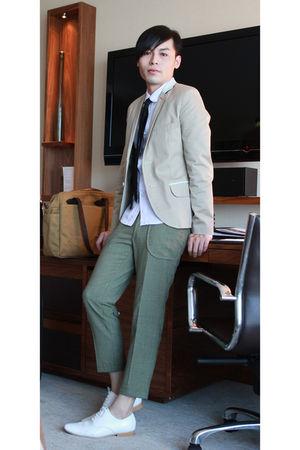 beige i made it  blazer - green i made it  pants - purple i made it  shirt