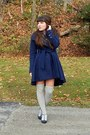 Navy-mirage-coat-mustard-h-m-dress-navy-thrifted-scarf