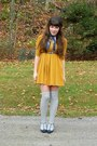 Mustard-h-m-dress-navy-mirage-coat-navy-thrifted-scarf