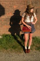 brown thrifted hat - red Dooney&Bourke purse - white Urban Outfitters shirt - bl