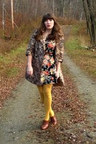 black thrifted vintage dress - bronze TJMaxx coat - mustard HUE tights - brown s