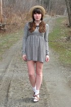 black Forever 21 dress - camel straw Urban Outfitters hat - ivory socks - brown