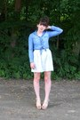 Light-pink-floral-thrifted-skirt-sky-blue-chambray-shirt