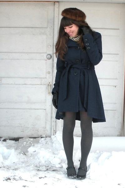 blue Mirage coat - black mary janes Payless shoes - dark brown mink vintage hat