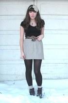 cream DIY accessories - beige vintage skirt - black Old Navy t-shirt - silver es