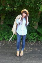 light yellow straw thrifted hat - camel trench H&M coat