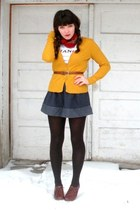 mustard H&M cardigan - navy thrifted skirt - white Urban Outfitters shirt - brow