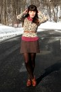 Brown-blimey-oxfords-seychelles-shoes-dark-brown-hue-tights-maroon-polkadot-
