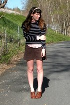 navy striped thrifted shirt - cream thrifted scarf - dark brown vintage skirt -