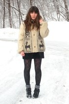 black go jane boots - eggshell llama thrifted sweater - heather gray tights - bl
