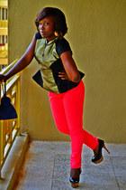 peplum Dorothy Perkins top - harems Zara pants - leopard print sammy pumps
