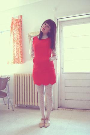 white vintage blouse - red sugarlipsapparel dress - white ardenes tights