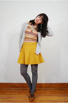 mustard OASAP skirt - heather gray Urban Outfitters tights