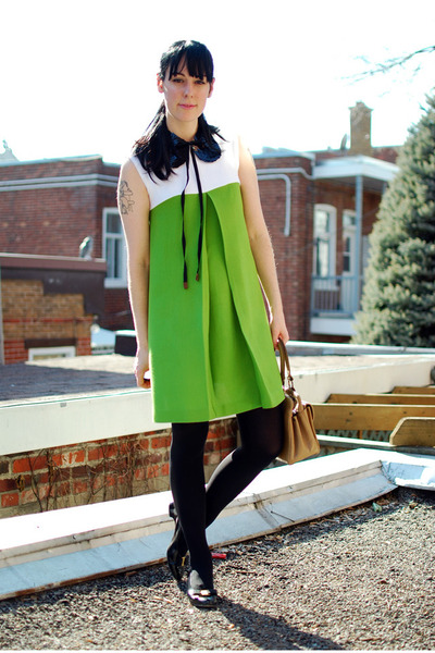 chartreuse vintage dress - black vintage shoes - black Urban Outfitters tights