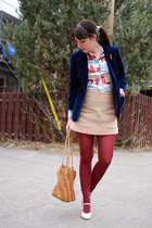navy vintage blazer - maroon Gap tights - tawny vintage bag - beige Zara skirt