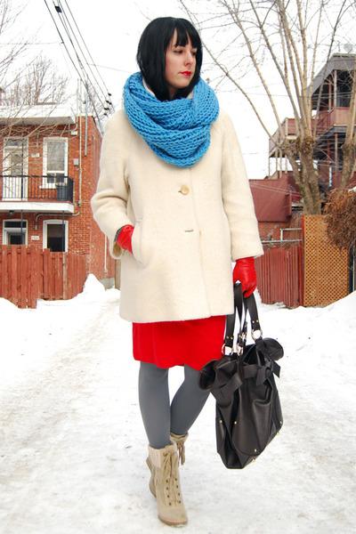 red vintage shirt - cream 70s mohair coat vintage coat