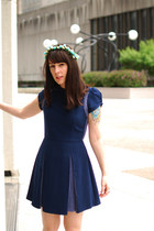 navy Sugarlips Apparel dress - light blue flower crown DIY hair accessory