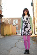 black vintage boots - black vintage dress - pink Urban Outfitters tights