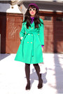 Purple-vintage-dress-chartreuse-vintage-coat-black-urban-outfitters-tights