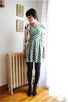 black Yeye Vintage heels - green eshakticom dress - white OASAP cardigan