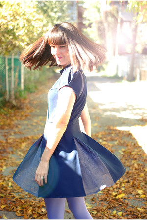 navy Sugarlips dress - periwinkle HUE tights - black vintage flats
