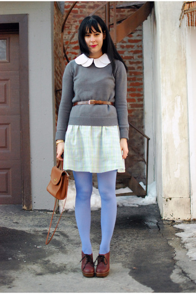 heather gray Zara sweater - crimson Urban Outfitters shoes