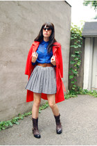 black vintage skirt - dark brown Vince Camuto boots - carrot orange vintage coat