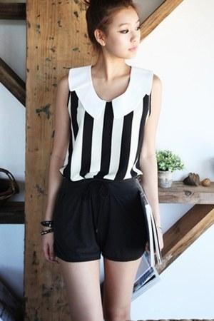 black coat - white bodysuit