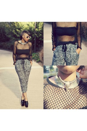 net Urban Outfitters top - conroy platform Jeffrey Campbell wedges